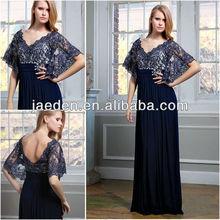 Jm012 nova chegada um- linha v- pescoço elegante moda navy blue mãe da noiva vestidos de renda 2013