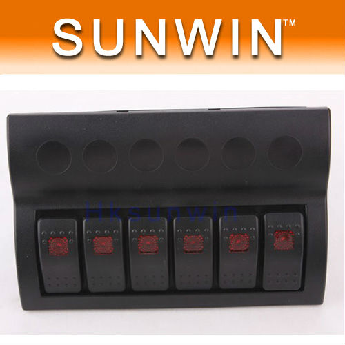 Waterproof 6 Gang Rocker Switch Panel with LED Indicators For SUV/Marine/Boat