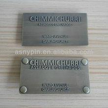 bronze embossed 3D logo tag/ metal sign plate for bag