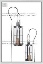Outdoor metal Grave Lantern With Pole Stake, Hurricane Metal grave Lantern for Garden Decoration