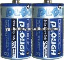 Zinc Carbon Battery Heavy duty D Size R20 UM1 PVC Jacket Batteries 1.5V Dry Cell Battery