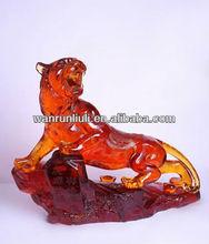 Popular big size pate de verre crystal tiger