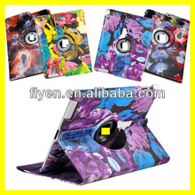 Rotating Leather Case for iPad 4 3 2 Smart Cover with stylish Painting FLOWER Doodle Art Design cases covers for ipad 4 colors