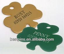 Dog Pet ID Tag engraved free, Green Gold Shamrock Design