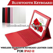 Color Wireless Bluetooth Keyboard Leather Case for Ipad 2/3