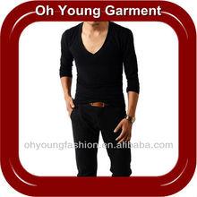Men's Custom Basic Blank Deep V Neck T Shirt Manufacturer