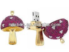 Jewelry mushroom usb flash drive, mushroom usb jewelry, jewelry diamond usb flash drive