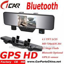 Hot selling HD 1080p, Bluetooth Handfree Call, Mirror GPS Car Front And Rear Camera