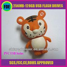 Cheap Novelty Custom Tiger Shape 512MB PVC USB