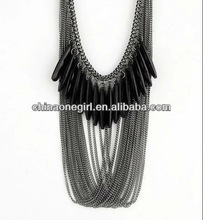 Europe Style Decorative Stones Black Tassel Necklace