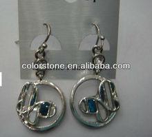 Butterfly in circle earrings,Alloy Butterfly with abalone shell earrings,Fashion butterfly earrings