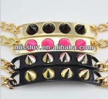 Big-name design punk braceles,Europe shiny rivet chain bracelets,2013 hot tide girl favourite bracelets
