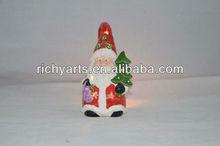 Christmas ceramic candle holder with santa design