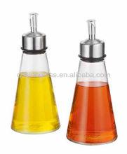 SINOGLASS 2 pcs with s/s spouts edging range glass oil and vinegar bottle set