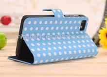 Polka Dot Flip Leather Case For Blackberry Z10 10 Dev Alpha B Smart Phone