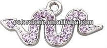Fashion snake charms,Snake sharp with rhinestone,Snake alloy animal pendant