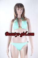 Hot Strapless Cupless Light Green Bikini, Front-Creasing Bra&Panty