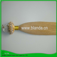 Wholesale blond silk straigth wave micro ring hair