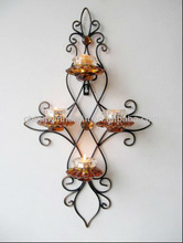 floral metal set glass candle holder romantic home decoration delicate modern art and craft