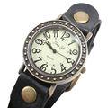 vintage rolex tiempo reloj negro pulsera reloj de pulsera de bronce antiguo de cuero pulsera de estilo de ocio hombre reloj de descuento de los bienes