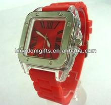 Jelly quartz watch with silicone wristband