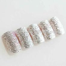 Silver glitter powder fashionable design nails cosmetic free sample nail art