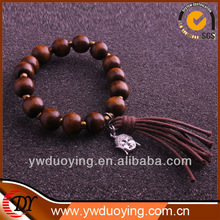 Beaded Bracelet with Dark Brown Wood Beads and Vintage Silver Buddha Head
