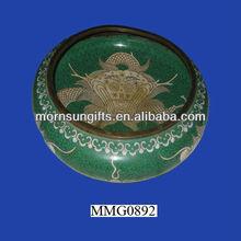 Fabulous antique green cloisonne bowls