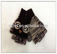 Children's Cat Knitting Fingerless Gloves
