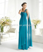 vintage sheath one shoulder with ribbons crystal handmade tieredchiffon evening dress EV023