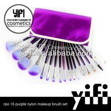Purple case 16pcs makeup brush set flat and fat powder brushes