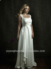Satin Slightly Scooped Neckline Asymmetrical Ruched Bodice Column Plus Size Wedding Dress