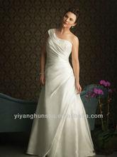 Satin One Shoulder Neckline Asymmetrical Wrapped Bodice A-line Plus Size Wedding Dress