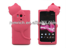 for Sony Ericsson LT26w Xperia acro S cute cartoon 3D cat soft silicone case lovely cell phone cover