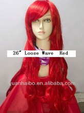 """Fashional Style 22"""" #Red Loose Wave, Virgin Chinese Hair Full Lace Wig"""