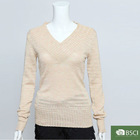 V-neck full sleeve fashion design pullover sweater for girls