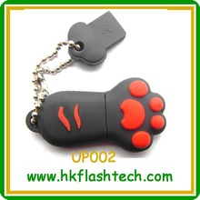 CE ROHS FCC certificated bear's paw shape PVC usb flash drive