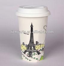 eiffel tower porcelain double wall mug for travel