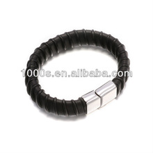 High end leather stainless steel bracelet for men