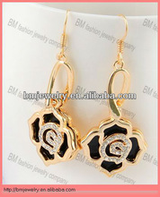 new fashion pendant jewelry enamel black crystal rose earring