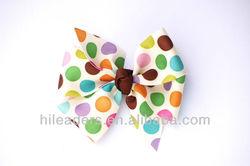 colorful dots printing with satin ribbon bow