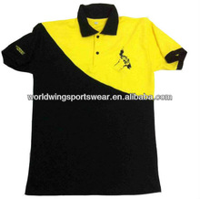 Mens 100% cotton 220gsm custom black and yellow embroidered Polo T-Shirt