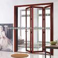 elegante diseño de buena calidad de puerta de aluminio plegable con parrilla decorativos de foshan wanjia precio de fábrica