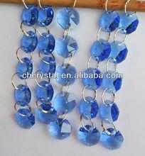 light blue crystal octagon chandelier prisms chains,wedding decoration crystal strands