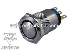 19mm cambered auto press button switch with sliver led