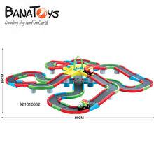 72PCS plastic cartoon battery operated rail car toys slotted