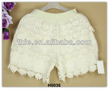 Beige delicate tiere lined cotton lace shorts with elastic for lady