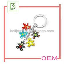 Novelty motley bear pattern shape key chains for promotion