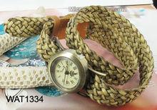 Women ladies woven bangle bracelet leather strap watches
