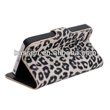 high quality luxury leopard leather wallet case for iphone 5